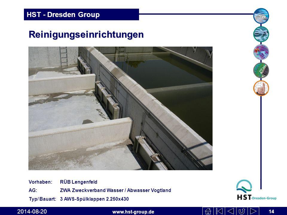 www.hst-group.de HST - Dresden Group Reinigungseinrichtungen 14 2014-08-20 Vorhaben: RÜB Lengenfeld AG: ZWA Zweckverband Wasser / Abwasser Vogtland Typ/ Bauart: 3 AWS-Spülklappen 2.250x430