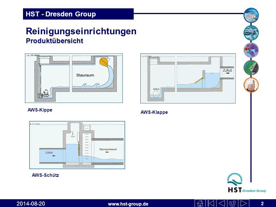 www.hst-group.de HST - Dresden Group Produktübersicht Reinigungseinrichtungen Produktübersicht 2 2014-08-20 AWS-Kippe AWS-Klappe AWS-Schütz