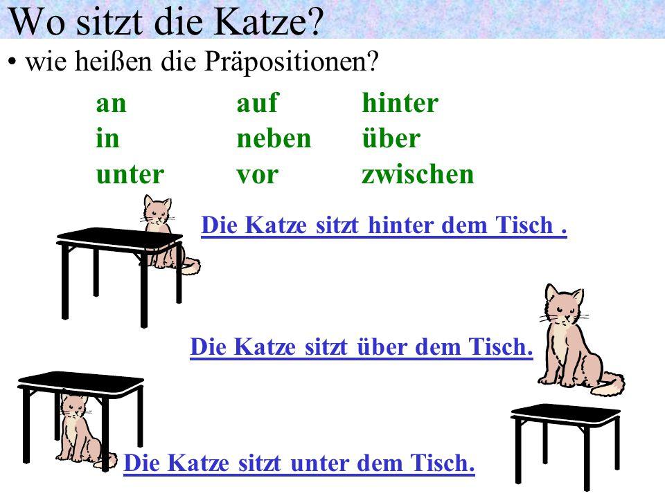 Wechselpräpositionen: Wo sitzt die Katze? wie heißen die Präpositionen? an auf hinter in neben über unter vor zwischen Die Katze sitzt an demTisch. Di