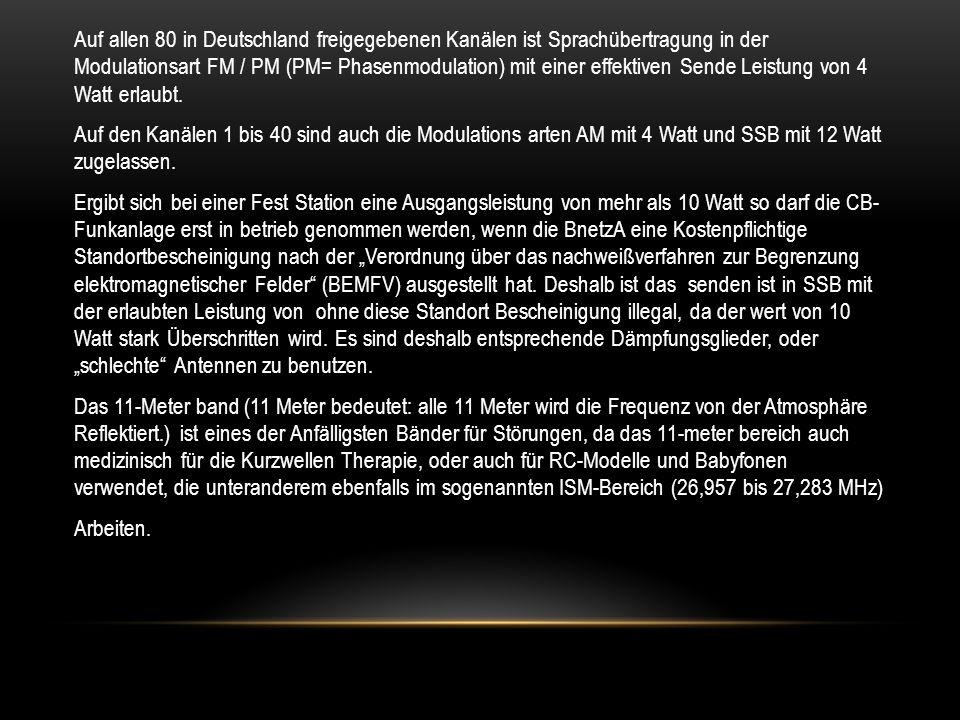 Auf allen 80 in Deutschland freigegebenen Kanälen ist Sprachübertragung in der Modulationsart FM / PM (PM= Phasenmodulation) mit einer effektiven Send