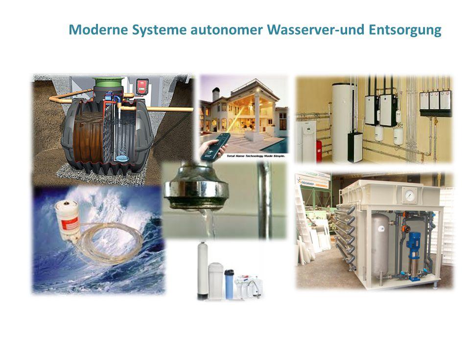 Moderne Systeme autonomer Wasserver-und Entsorgung