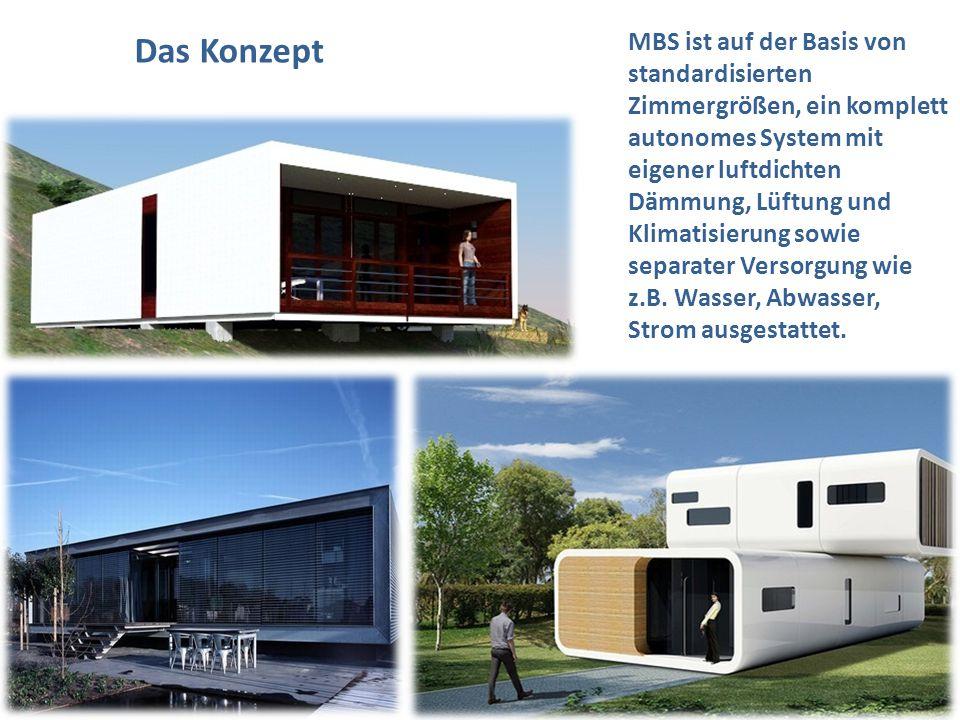 MBS ist auf der Basis von standardisierten Zimmergrößen, ein komplett autonomes System mit eigener luftdichten Dämmung, Lüftung und Klimatisierung sow