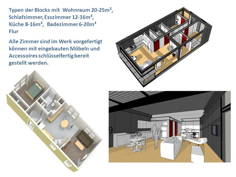 Typen der Blocks mit Wohnraum 20-25m², Schlafzimmer, Esszimmer 12-16m², Küche 8-16m², Badezimmer 6-20m² Flur Alle Zimmer sind im Werk vorgefertigt kön