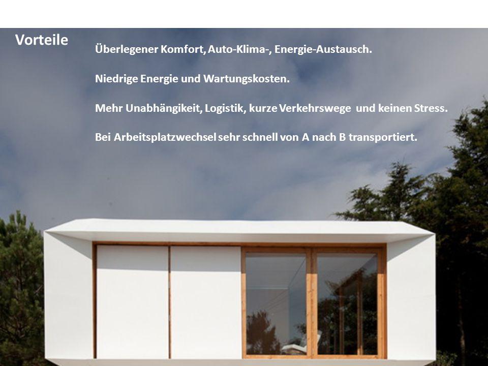Überlegener Komfort, Auto-Klima-, Energie-Austausch. Niedrige Energie und Wartungskosten. Mehr Unabhängikeit, Logistik, kurze Verkehrswege und keinen