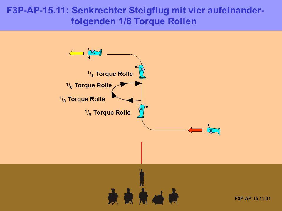 F3P-AP-15.11.01 1 / 8 Torque Rolle F3P-AP-15.11: Senkrechter Steigflug mit vier aufeinander- folgenden 1/8 Torque Rollen