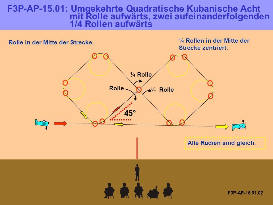 F3P-AP-15.11.01 F3P-AP-15.11: Senkrechter Steigflug mit vier aufeinander- folgenden 1/8 Torque Rollen 1 / 8 Torque Rolle 1/8 Torque Rollen in der Mitte der Strecke.
