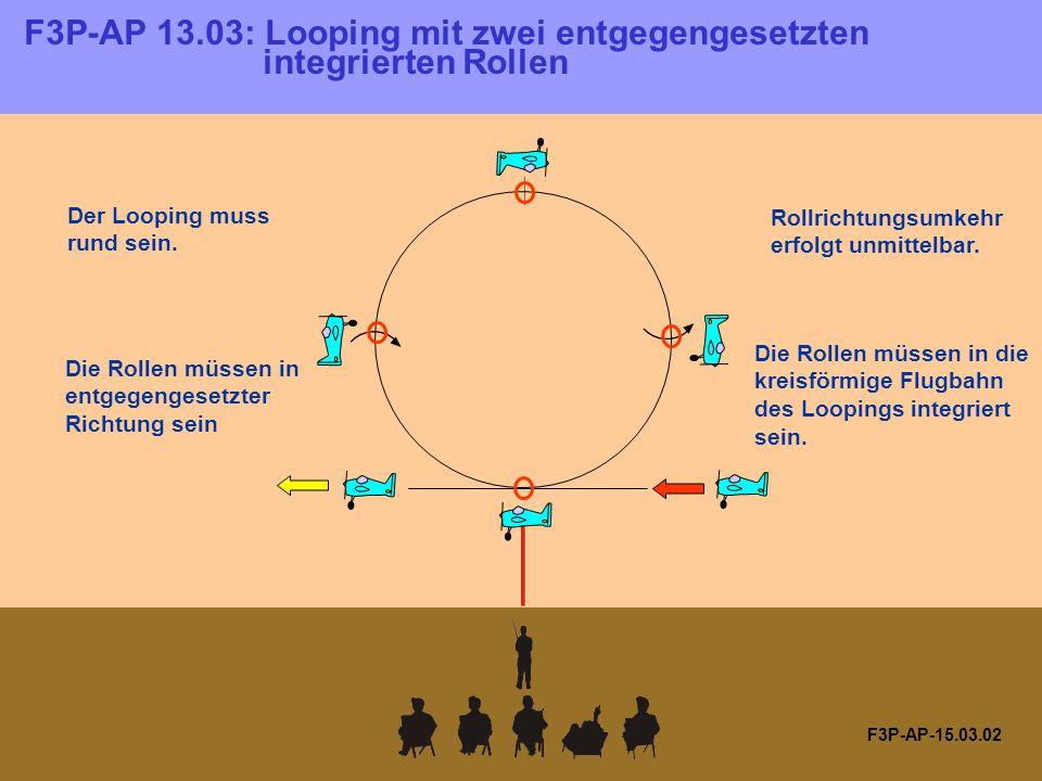 F3P-AP-15.03.02 Die Rollen müssen in entgegengesetzter Richtung sein Die Rollen müssen in die kreisförmige Flugbahn des Loopings integriert sein.