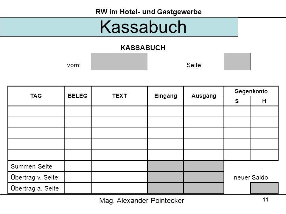 Mag. Alexander Pointecker RW im Hotel- und Gastgewerbe 11 Kassabuch KASSABUCH vom: Seite: TAGBELEGTEXTEingangAusgang Gegenkonto SH Summen Seite Übertr