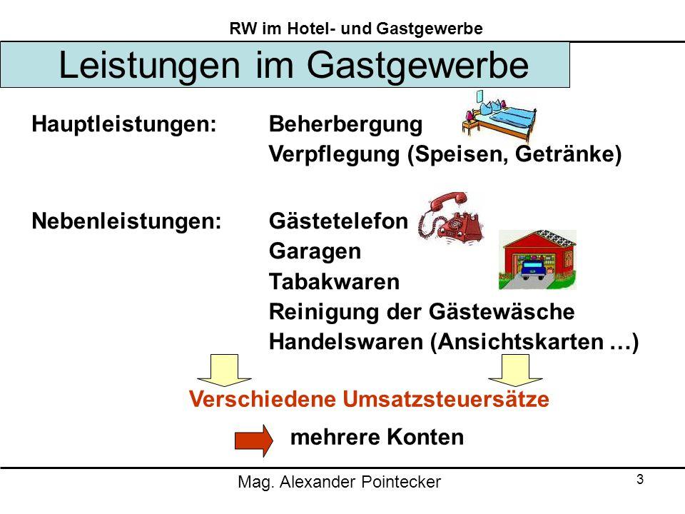 Mag. Alexander Pointecker RW im Hotel- und Gastgewerbe 3 Leistungen im Gastgewerbe Hauptleistungen: Nebenleistungen: Beherbergung Verpflegung (Speisen