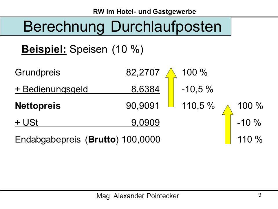 Mag. Alexander Pointecker RW im Hotel- und Gastgewerbe 9 Berechnung Durchlaufposten Beispiel: Speisen (10 %) Grundpreis 82,2707100 % + Bedienungsgeld
