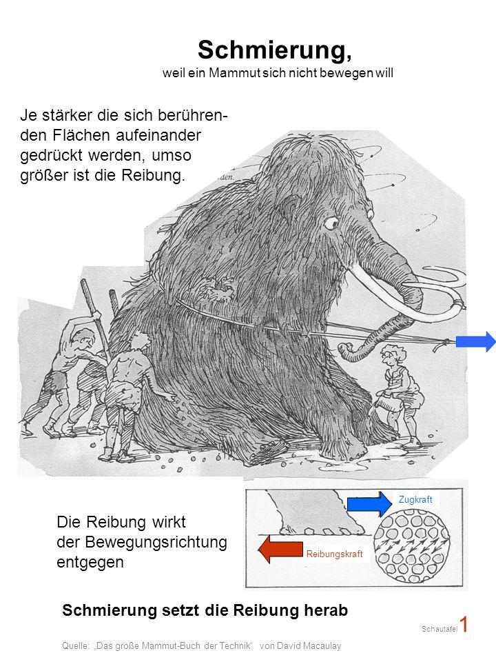 Schmierung, weil ein Mammut sich nicht bewegen will Die Reibung wirkt der Bewegungsrichtung entgegen Je stärker die sich berühren- den Flächen aufeinander gedrückt werden, umso größer ist die Reibung.