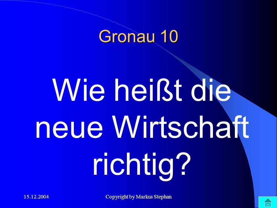 15.12.2004Copyright by Markus Stephan Wie heißt die neue Wirtschaft richtig? Gronau 10