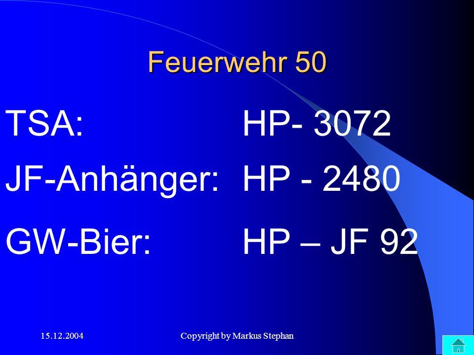15.12.2004Copyright by Markus Stephan Feuerwehr 50 TSA: HP- 3072 GW-Bier:HP – JF 92 JF-Anhänger:HP - 2480