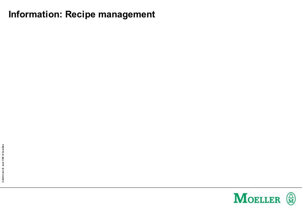 Schutzvermerk nach DIN 34 beachten Information: Recipe management