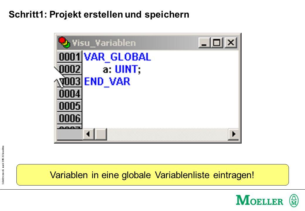 Schutzvermerk nach DIN 34 beachten Variablen in eine globale Variablenliste eintragen! Schritt1: Projekt erstellen und speichern