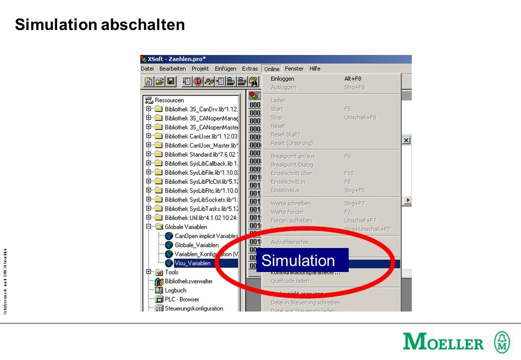 Schutzvermerk nach DIN 34 beachten Simulation abschalten Simulation