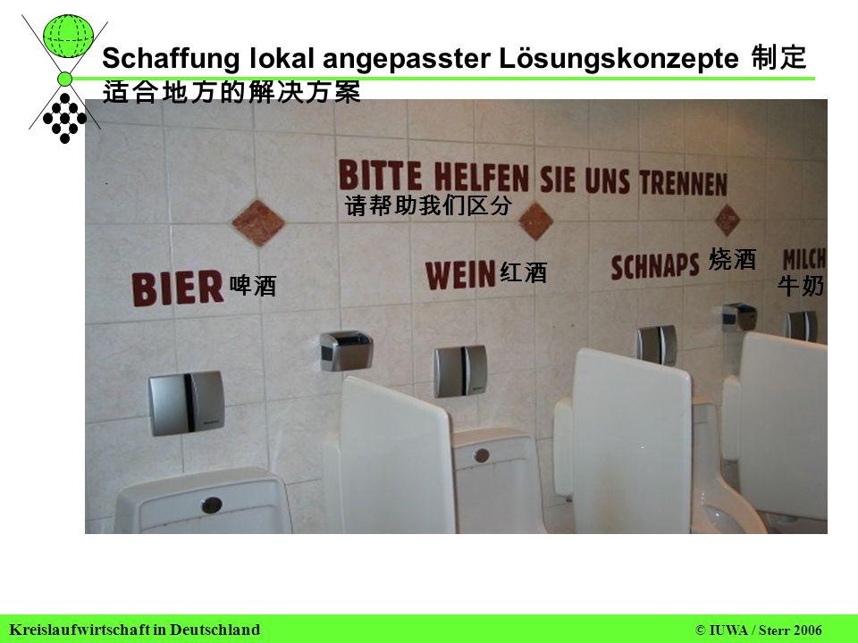 Kreislaufwirtschaft in Deutschland © IUWA / Sterr 2006 Schaffung lokal angepasster Lösungskonzepte 制定 适合地方的解决方案 请帮助我们区分 啤酒 红酒 烧酒 牛奶