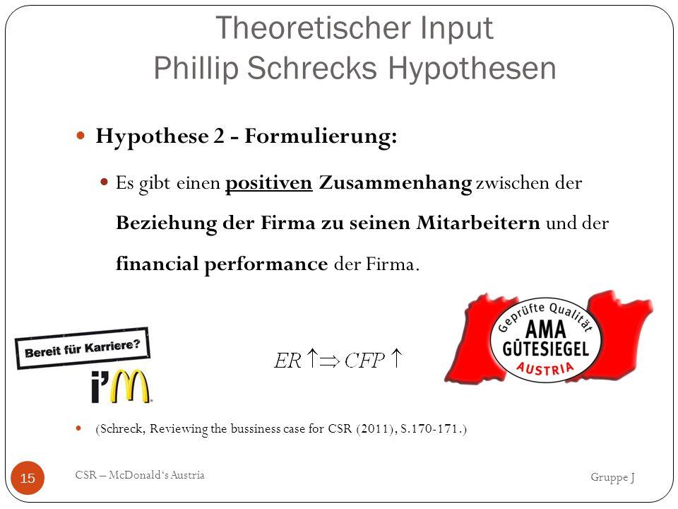 Theoretischer Input Phillip Schrecks Hypothesen Gruppe J CSR – McDonald's Austria 15 Hypothese 2 - Formulierung: Es gibt einen positiven Zusammenhang zwischen der Beziehung der Firma zu seinen Mitarbeitern und der financial performance der Firma.