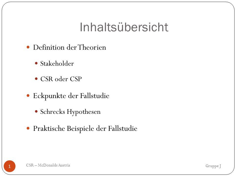 Inhaltsübersicht Gruppe J CSR – McDonalds Austria 1 Definition der Theorien Stakeholder CSR oder CSP Eckpunkte der Fallstudie Schrecks Hypothesen Praktische Beispiele der Fallstudie