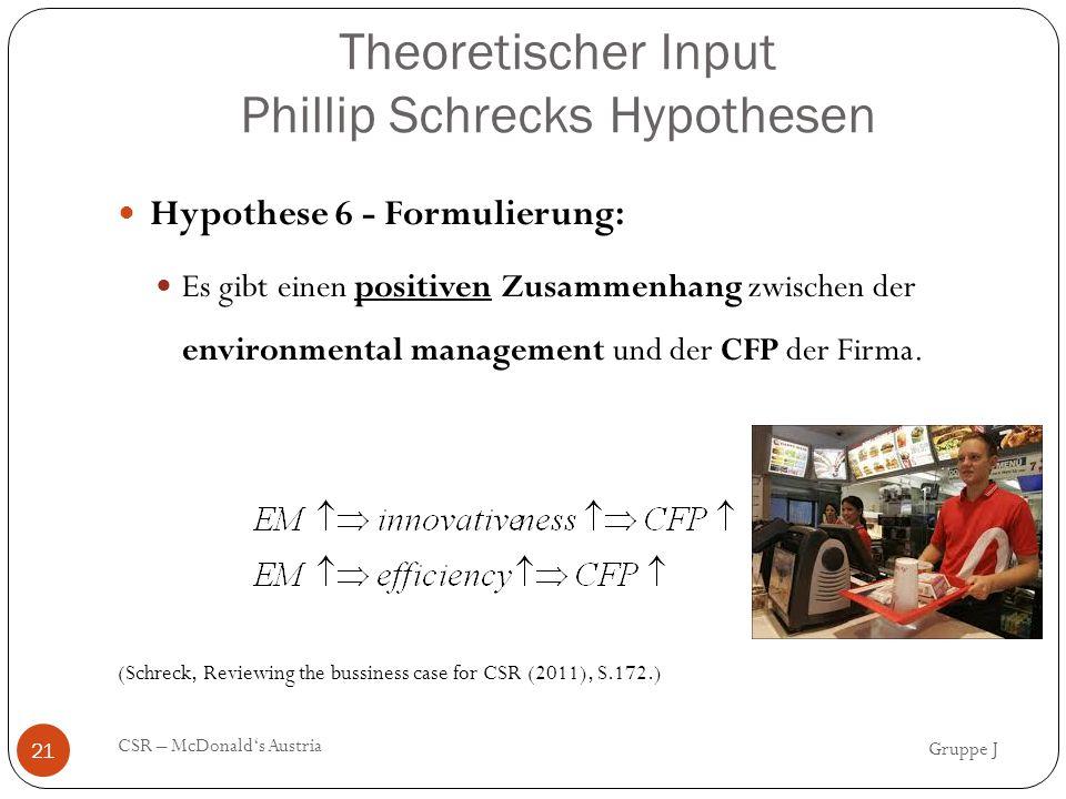Theoretischer Input Phillip Schrecks Hypothesen Gruppe J CSR – McDonald's Austria 21 Hypothese 6 - Formulierung: Es gibt einen positiven Zusammenhang zwischen der environmental management und der CFP der Firma.