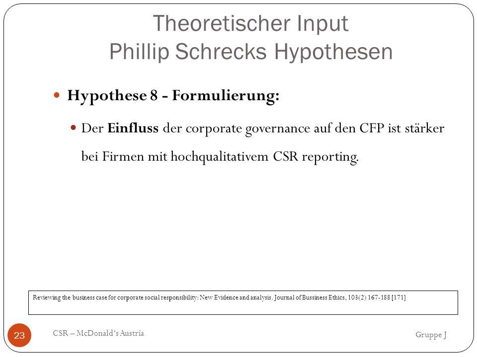 Theoretischer Input Phillip Schrecks Hypothesen Hypothese 8 - Formulierung: Der Einfluss der corporate governance auf den CFP ist stärker bei Firmen mit hochqualitativem CSR reporting.