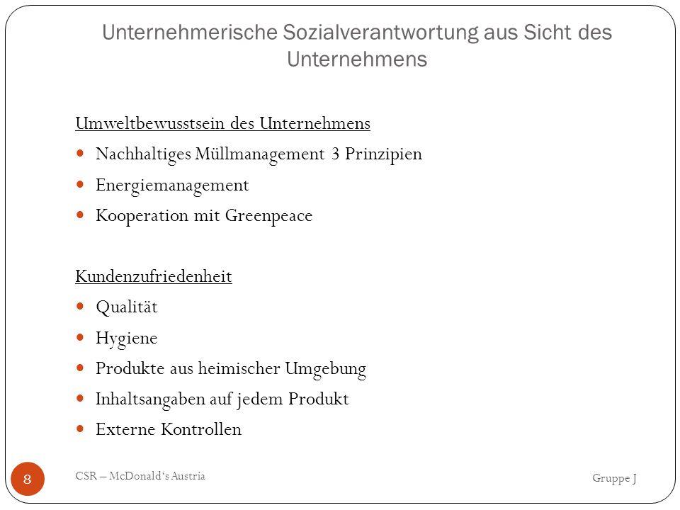 Literaturverzeichnis Gruppe J CSR – McDonald's Austria 31 Monografien: Freeman, Strategic Management (1984), S.8f.
