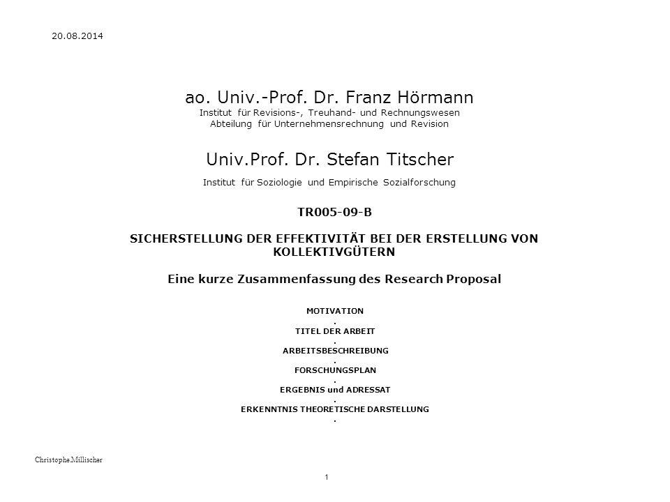 20.08.2014 1 Christophe.Millischer ao.Univ.-Prof.