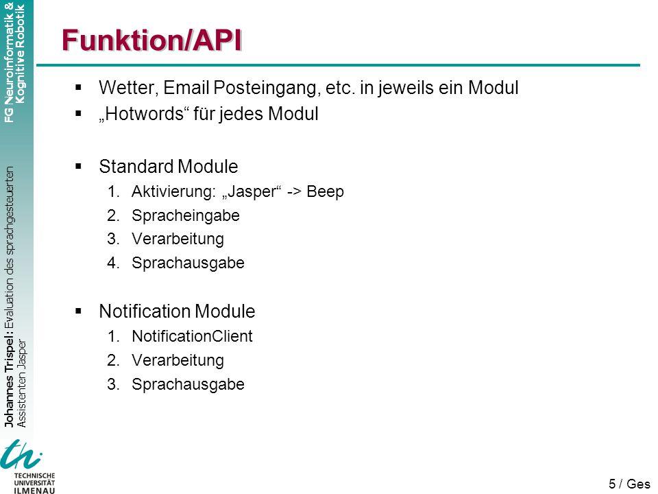 Johannes Trispel: Evaluation des sprachgesteuerten Assistenten Jasper FG Neuroinformatik & Kognitive Robotik 5 / Ges  Wetter, Email Posteingang, etc.