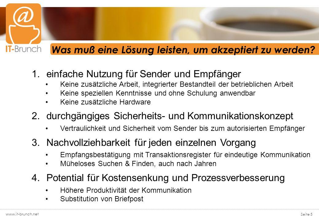 www.it-brunch.net Seite 5 Was muß eine Lösung leisten, um akzeptiert zu werden.