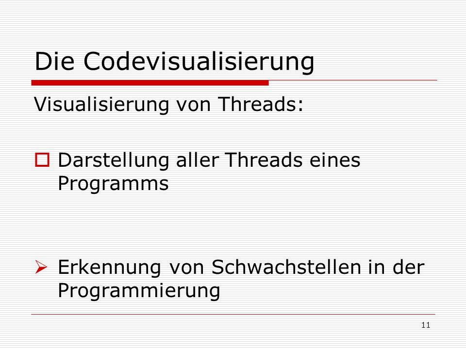 Die Codevisualisierung Visualisierung von Threads:  Darstellung aller Threads eines Programms  Erkennung von Schwachstellen in der Programmierung 11