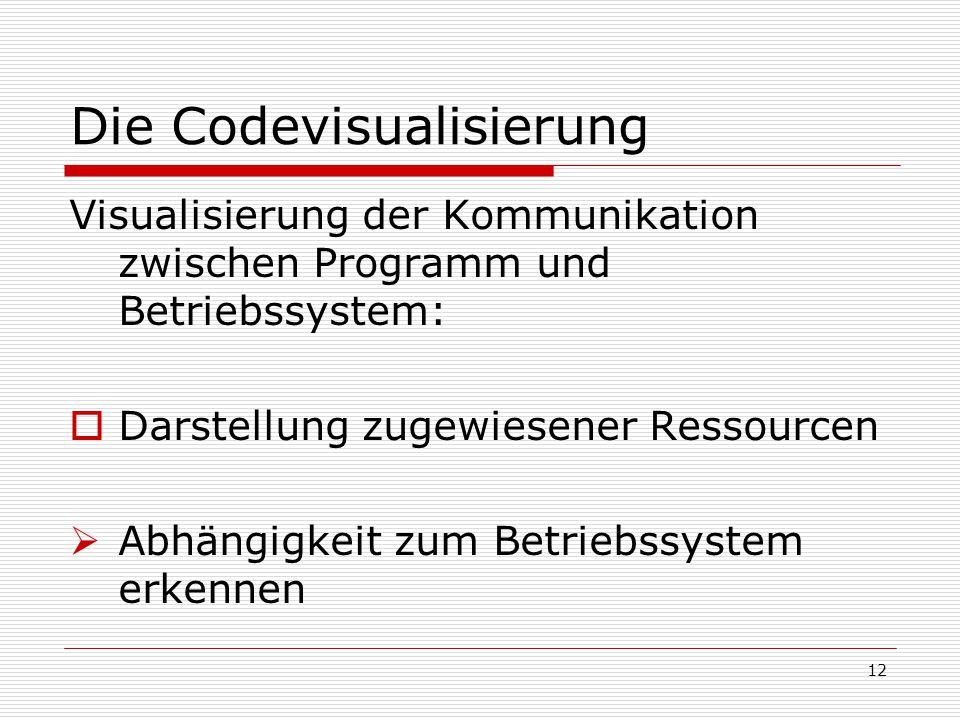 Die Codevisualisierung Visualisierung der Kommunikation zwischen Programm und Betriebssystem:  Darstellung zugewiesener Ressourcen  Abhängigkeit zum