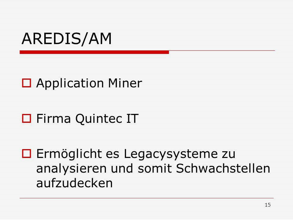 AREDIS/AM  Application Miner  Firma Quintec IT  Ermöglicht es Legacysysteme zu analysieren und somit Schwachstellen aufzudecken 15