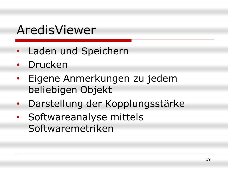 AredisViewer Laden und Speichern Drucken Eigene Anmerkungen zu jedem beliebigen Objekt Darstellung der Kopplungsstärke Softwareanalyse mittels Softwar
