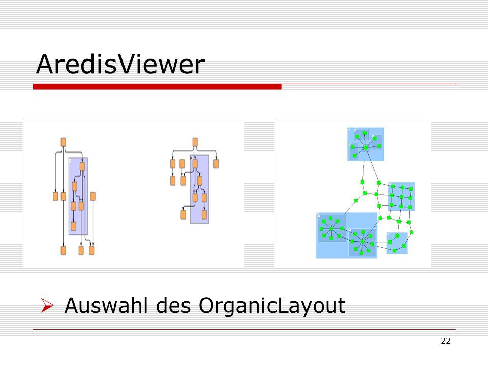 AredisViewer  Auswahl des OrganicLayout 22