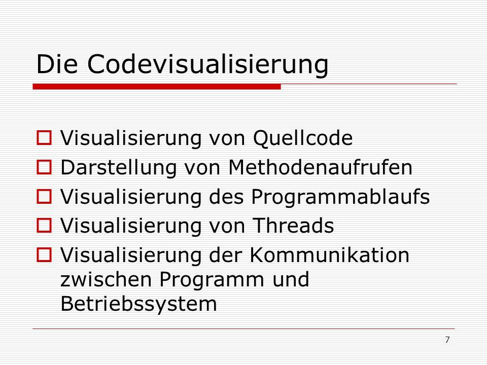 Die Codevisualisierung  Visualisierung von Quellcode  Darstellung von Methodenaufrufen  Visualisierung des Programmablaufs  Visualisierung von Thr