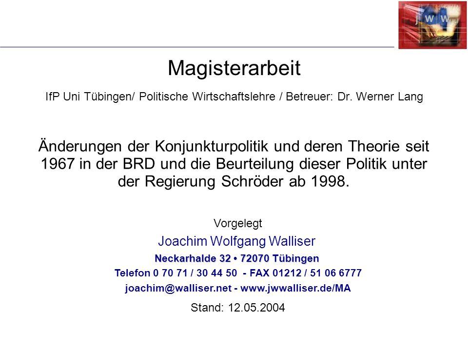 Änderungen der Konjunkturpolitik und deren Theorie seit 1967 in der BRD und die Beurteilung dieser Politik unter der Regierung Schröder ab 1998. Vorge