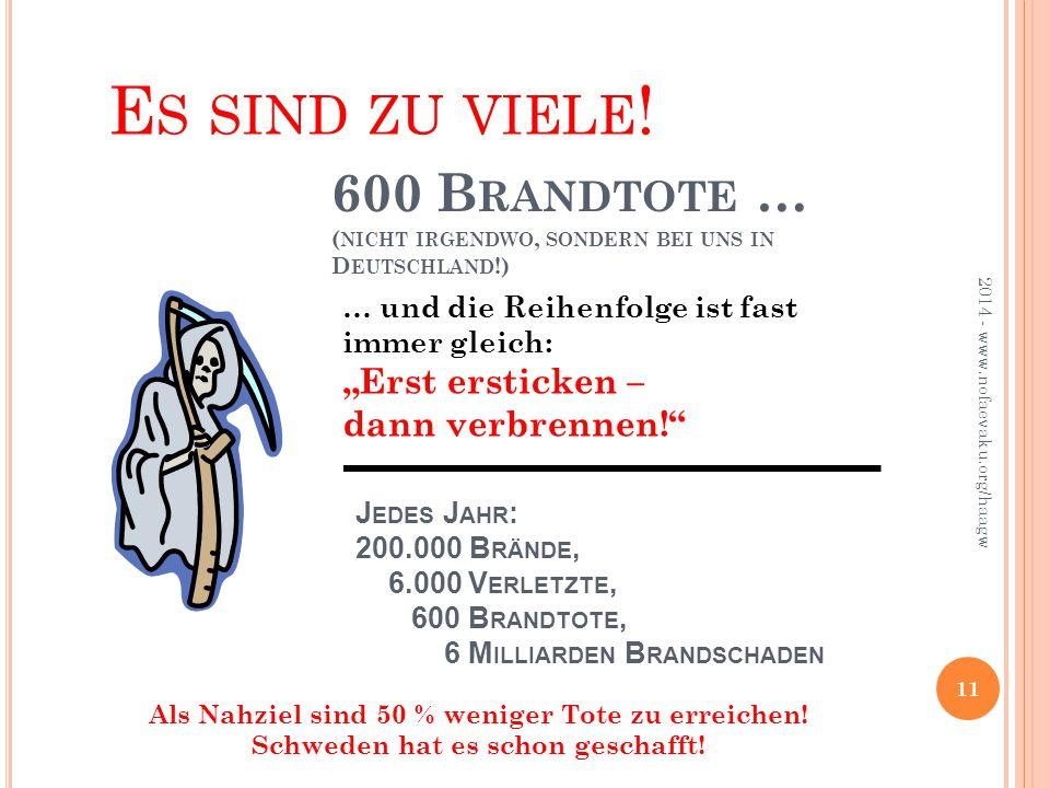 """J EDES J AHR : 200.000 B RÄNDE, 6.000 V ERLETZTE, 600 B RANDTOTE, 6 M ILLIARDEN B RANDSCHADEN … und die Reihenfolge ist fast immer gleich: """"Erst ersticken – dann verbrennen! 600 B RANDTOTE … ( NICHT IRGENDWO, SONDERN BEI UNS IN D EUTSCHLAND !) 2014 - www.nofaevaku.org/haagw 11 E S SIND ZU VIELE ."""