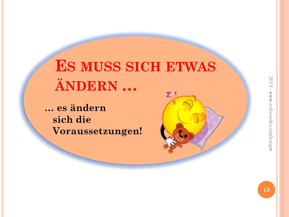 E S MUSS SICH ETWAS ÄNDERN … 13 2014 - www.nofaevaku.org/haagw … es ändern sich die Voraussetzungen!
