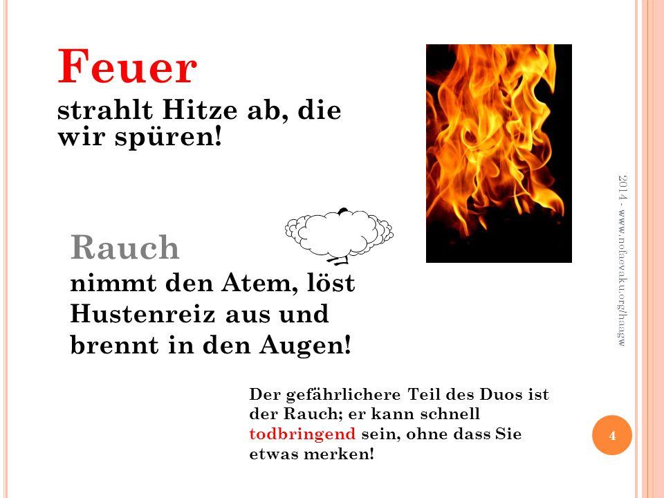 2014 - www.nofaevaku.org/haagw 5 Gefahr besteht … im Freien, denn Feuer kann sich ausdehnen.