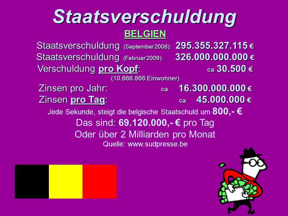 Staatsverschuldung Staatsverschuldung BELGIEN Staatsverschuldung (September 2008): 295.355.327.115 € Staatsverschuldung (Februar 2009): 326.000.000.00