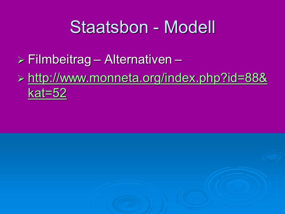 Staatsbon - Modell  Filmbeitrag – Alternativen –  http://www.monneta.org/index.php?id=88& kat=52 http://www.monneta.org/index.php?id=88& kat=52 http