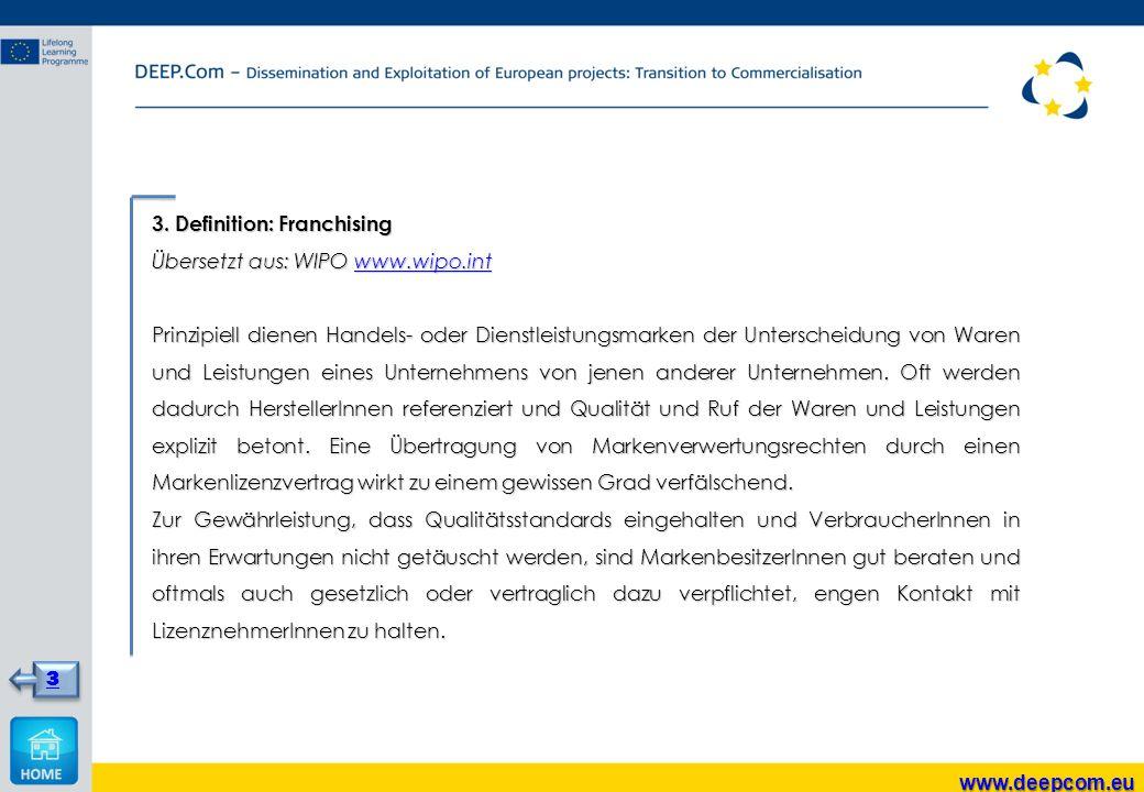 3. Definition: Franchising Übersetzt aus: WIPO www.wipo.int www.wipo.int Prinzipiell dienen Handels- oder Dienstleistungsmarken der Unterscheidung von