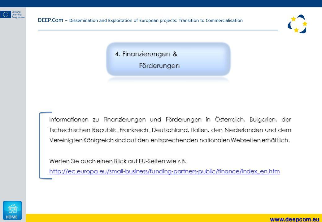 Informationen zu Finanzierungen und Förderungen in Österreich, Bulgarien, der Tschechischen Republik, Frankreich, Deutschland, Italien, den Niederland