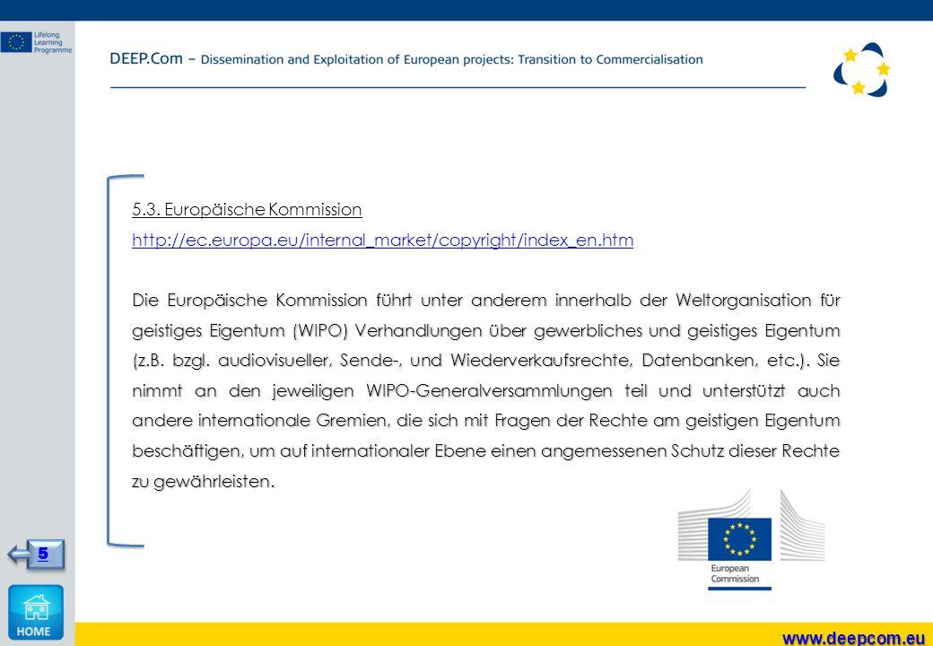 5.3. Europäische Kommission http://ec.europa.eu/internal_market/copyright/index_en.htm Die Europäische Kommission führt unter anderem innerhalb der We