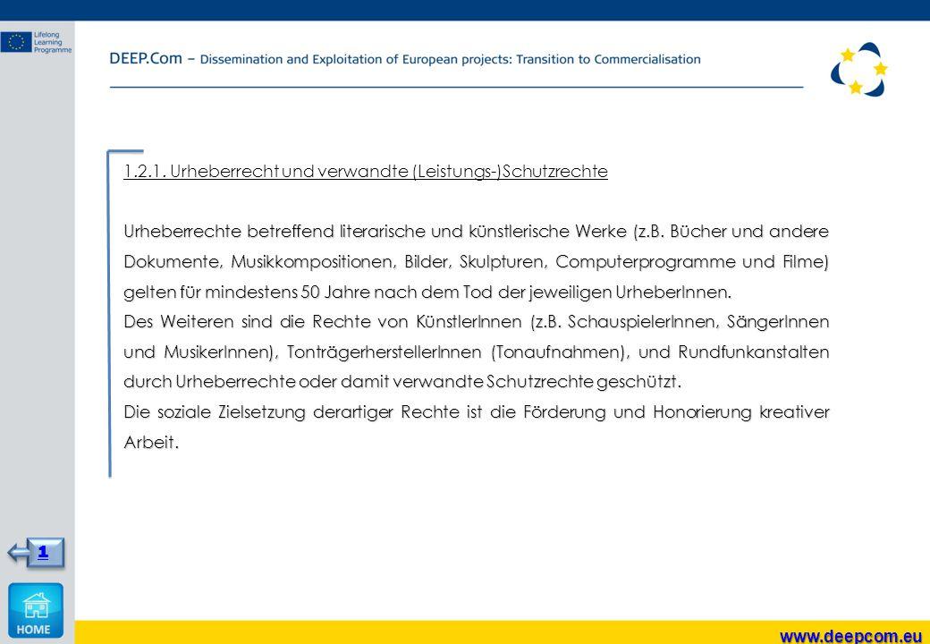 1.2.1. Urheberrecht und verwandte (Leistungs-)Schutzrechte Urheberrechte betreffend literarische und künstlerische Werke (z.B. Bücher und andere Dokum
