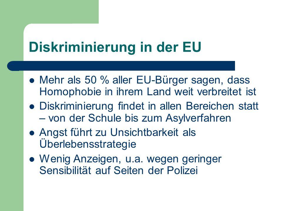 Diskriminierung in der EU Mehr als 50 % aller EU-Bürger sagen, dass Homophobie in ihrem Land weit verbreitet ist Diskriminierung findet in allen Berei