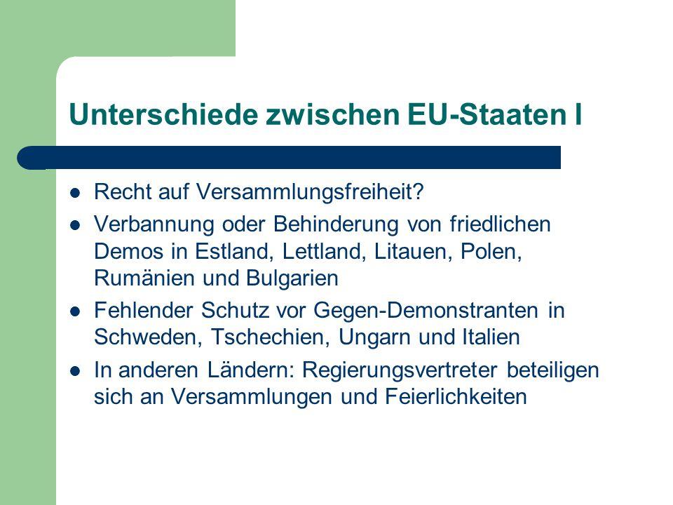 Unterschiede zwischen EU-Staaten I Recht auf Versammlungsfreiheit? Verbannung oder Behinderung von friedlichen Demos in Estland, Lettland, Litauen, Po