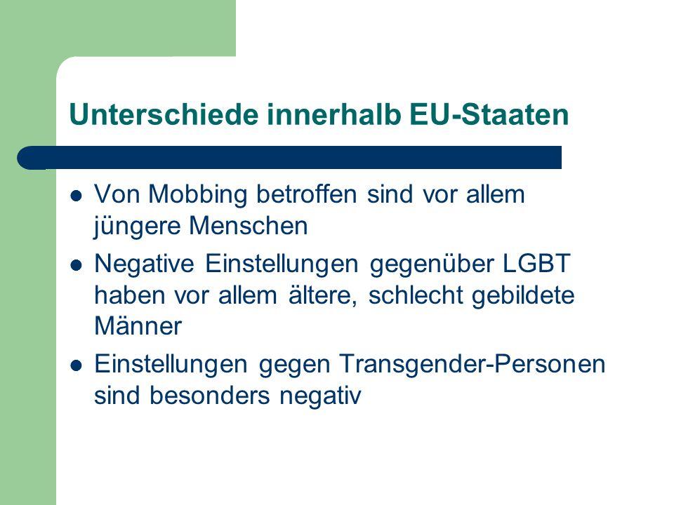 Unterschiede innerhalb EU-Staaten Von Mobbing betroffen sind vor allem jüngere Menschen Negative Einstellungen gegenüber LGBT haben vor allem ältere,