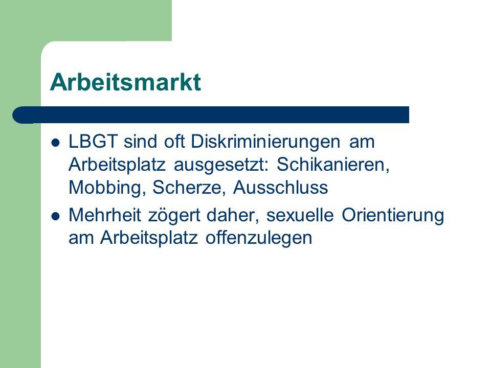 Arbeitsmarkt LBGT sind oft Diskriminierungen am Arbeitsplatz ausgesetzt: Schikanieren, Mobbing, Scherze, Ausschluss Mehrheit zögert daher, sexuelle Or