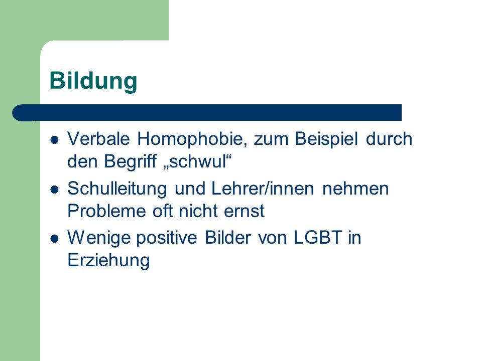 """Bildung Verbale Homophobie, zum Beispiel durch den Begriff """"schwul"""" Schulleitung und Lehrer/innen nehmen Probleme oft nicht ernst Wenige positive Bild"""
